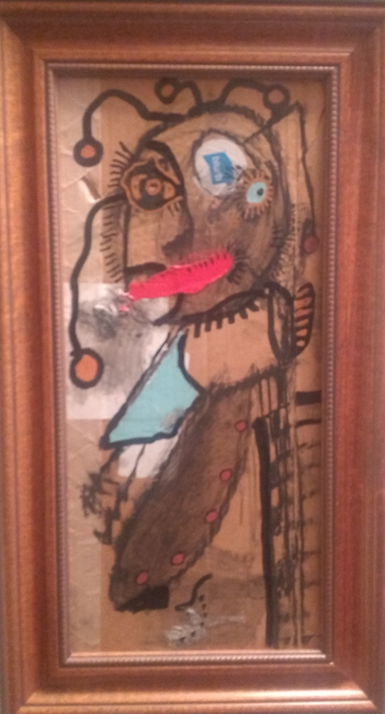 Paul Kostabi original art framed