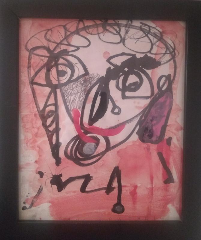 Paul Kostabi original art framed