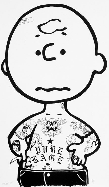 Charlie Brown Donald Topp B&W Cartoon Tattoo print