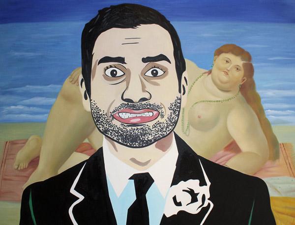 Aziz Ansari & Fernando Botero's Reclining Nude by Maximilian