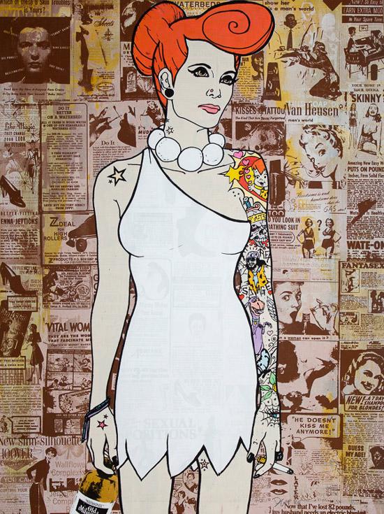 Wilma Flinstone Donald Topp Cartoon Tattoo Hipster Chicks