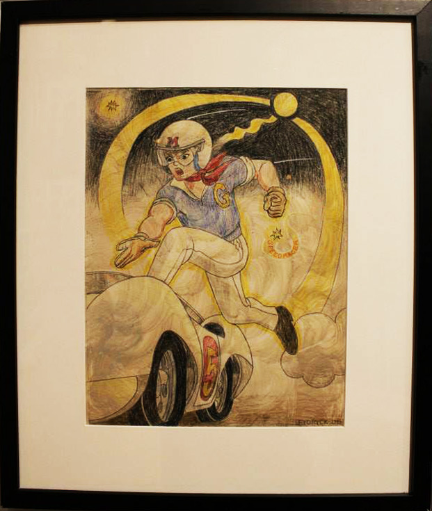 """Speed Racer"" Hand painted pencil drawing on paper in shadow box frame by Walter Fydryck"