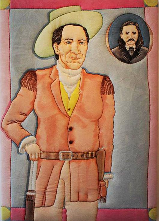 """Calamity Jane and Wild Bill Hickok"" dyed enhanced stitch fabric by Ken Ellis"