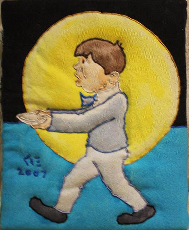 """Little Jack Horner"" dyed enhanced stitch fabric by Ken Ellis"