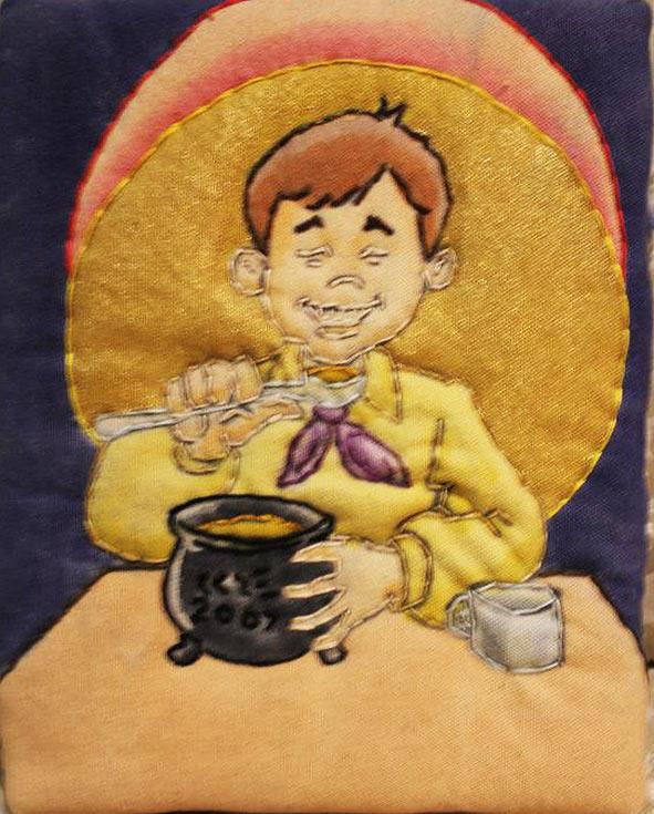 """Georgie Porgie"" dyed enhanced stitch fabric by Ken Ellis"