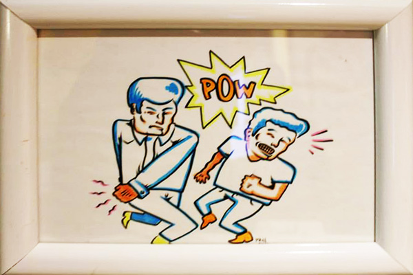 """Pow"" hand painted original on paper by Matt Geer"