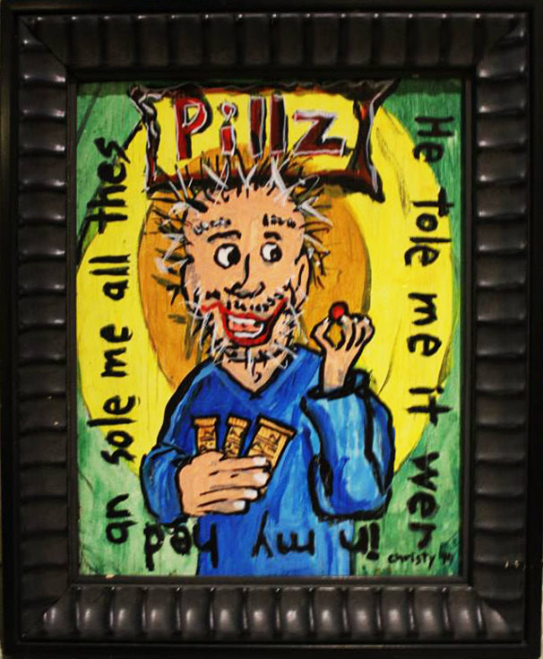 Pillz hand painted acrylic on board by Bob Christy