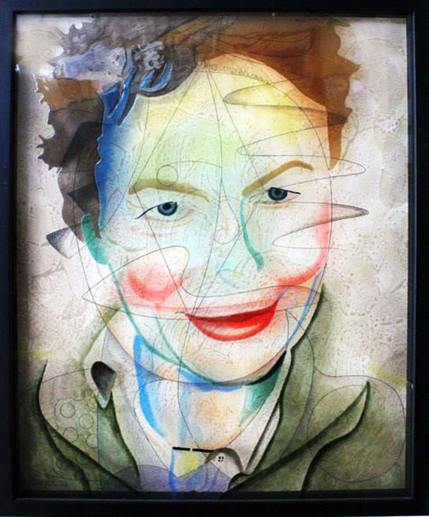 Laurie Anderson Hand painted infused glass and pencil drawing on paper in shadow box frame by Walter Fydryck