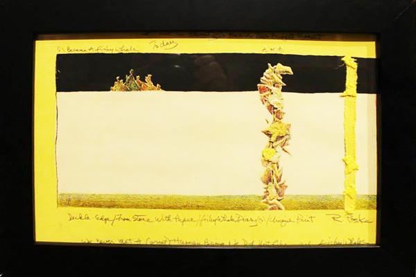 Untitled hand embellished wood block print by Roland Polska