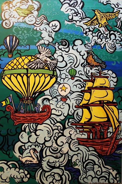 """A Fantastical Journey"" by Cheri Carlton acrylic on canvas"