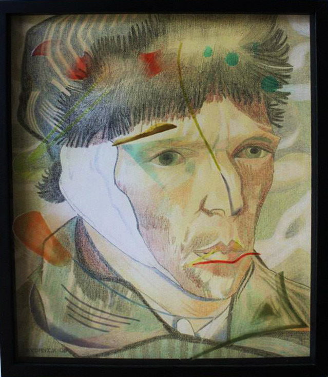 """Van Gogh"" Hand painted infused glass and pencil drawing on paper in shadow box frame by Walter Fydryck"