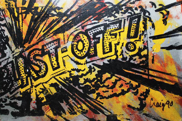 """Blast-Off"" original silkscreen and hand painting on canvas board by Craig Kersten"