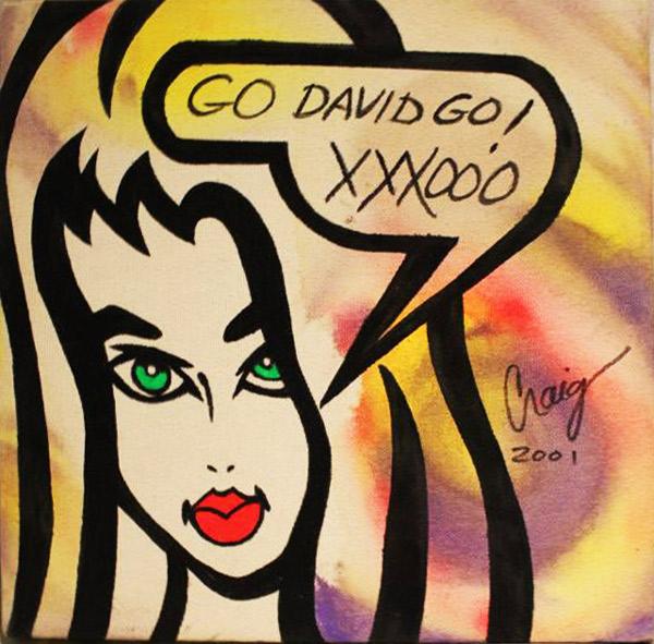 """Go David Go"" original silkscreen and hand painting on canvas board by Craig Kersten"