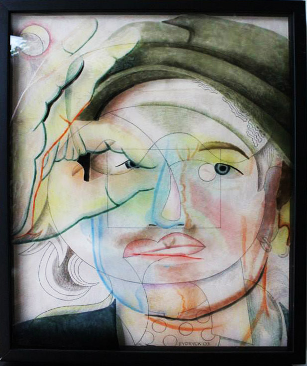 """""""Bono"""" Hand painted infused glass and pencil drawing on paper in shadow box frame by Walter Fydryck"""