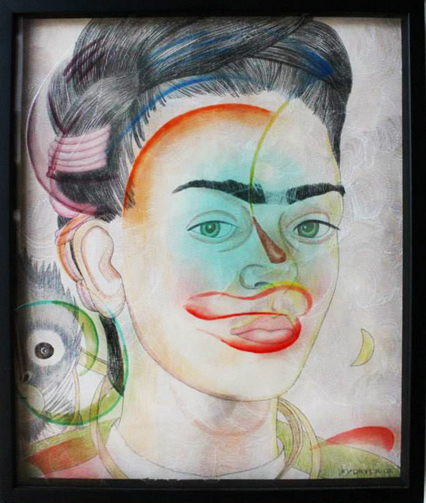 """Frida Kahlo"" Hand painted infused glass and pencil drawing on paper in shadow box frame by Walter Fydryck"