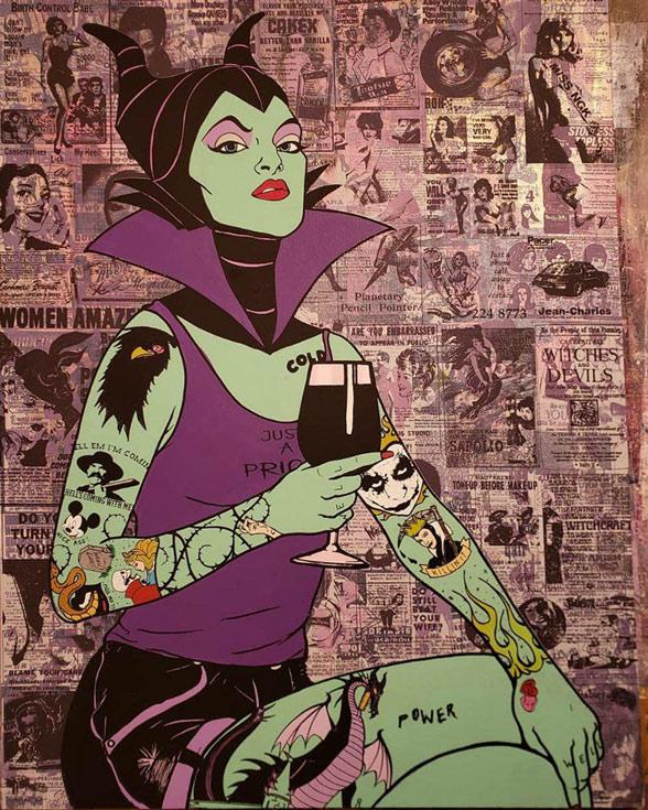 """Donald Topp Cartoon Tattoo Hipster Girls - Maleficent 26.5""""x20.5"""""""