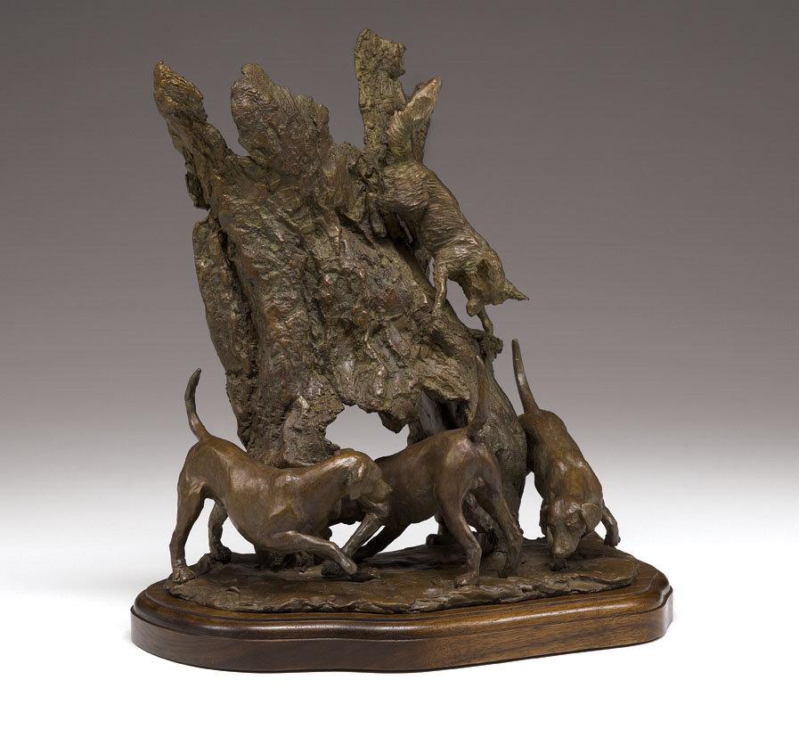Bronze sculpture of Fox and Hounds