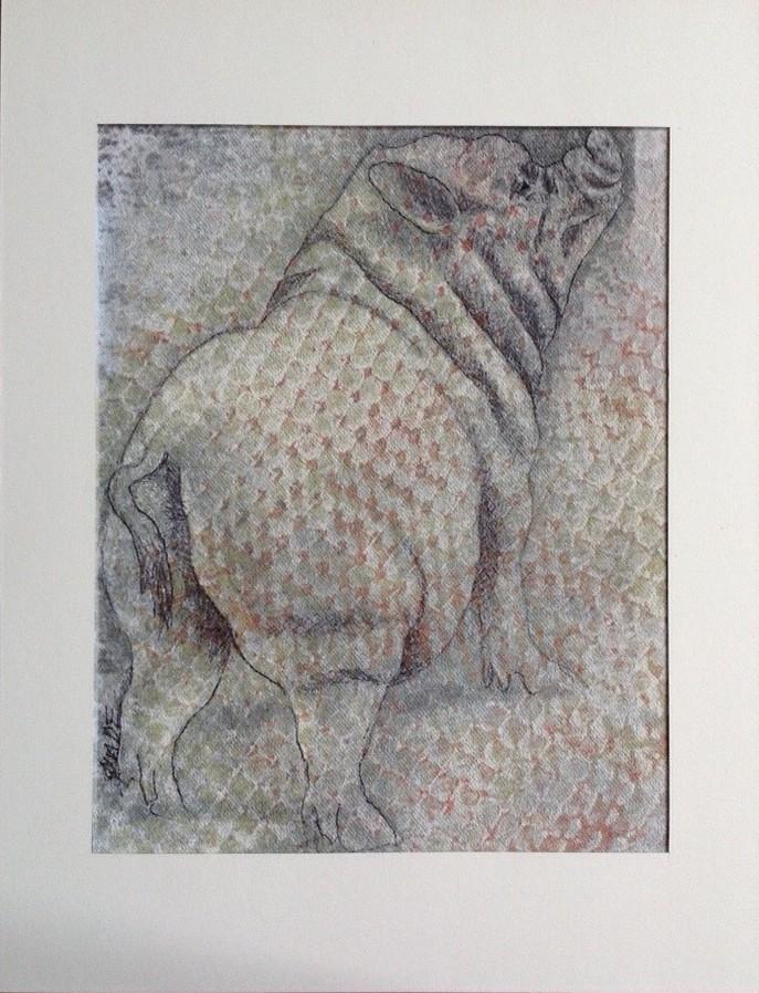 "PIG SPOTS<br> clay monoprint 10""x12"""