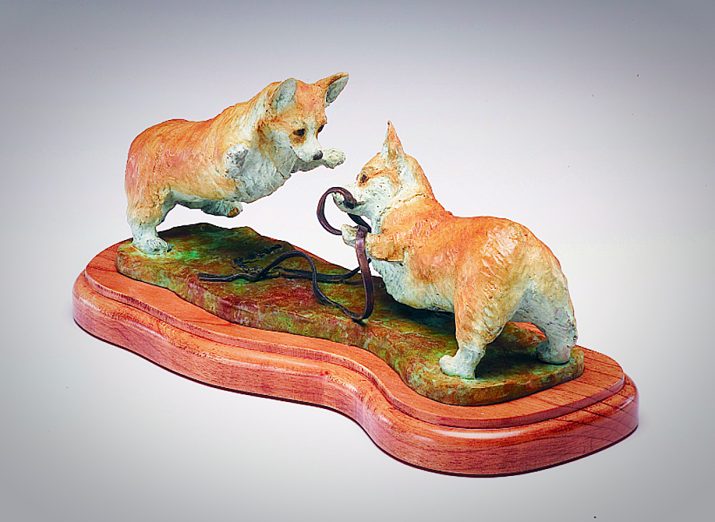 Bronze sculpture of Corgi Play