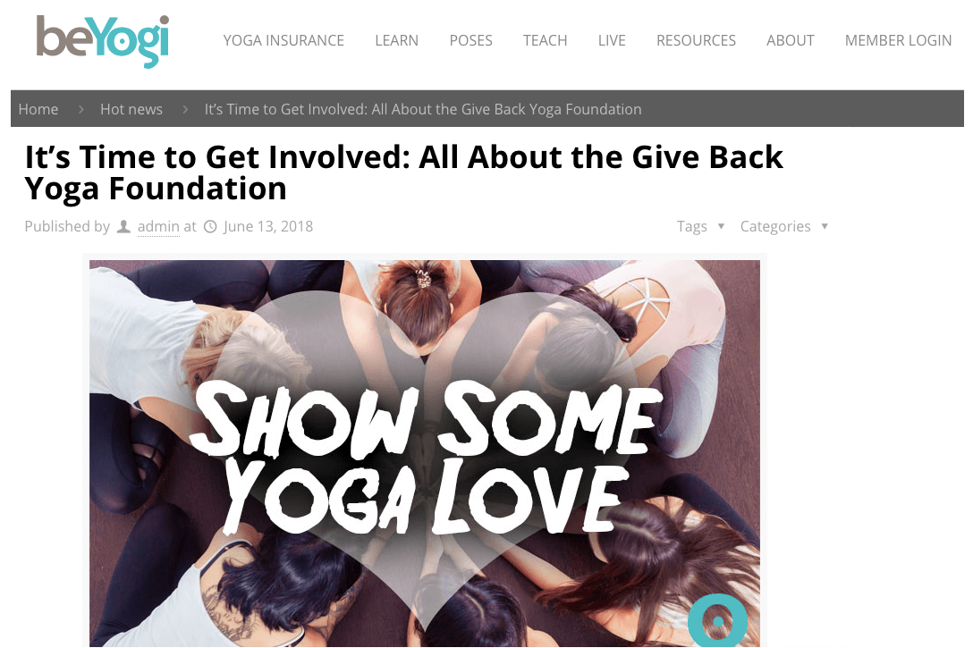 It's Time to Get Involved: All About the Give Back Yoga Foundation   beYogi