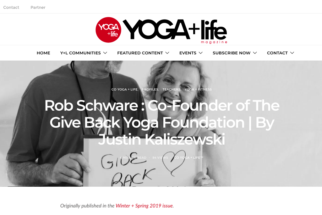 Rob Schware – Co-Founder of The Give Back Yoga Foundation   YOGA + Life Magazines