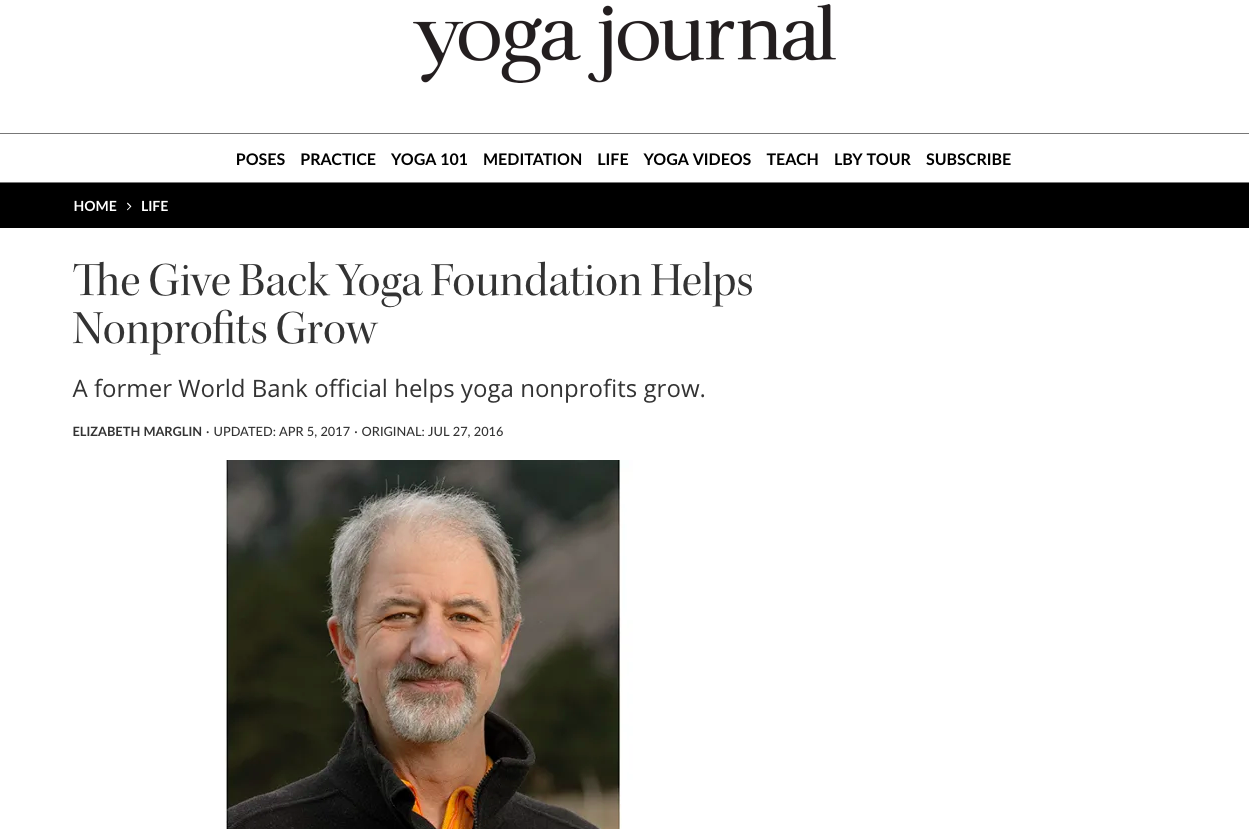 The Give Back Yoga Foundation Helps Nonprofits Grow | Yoga Journal