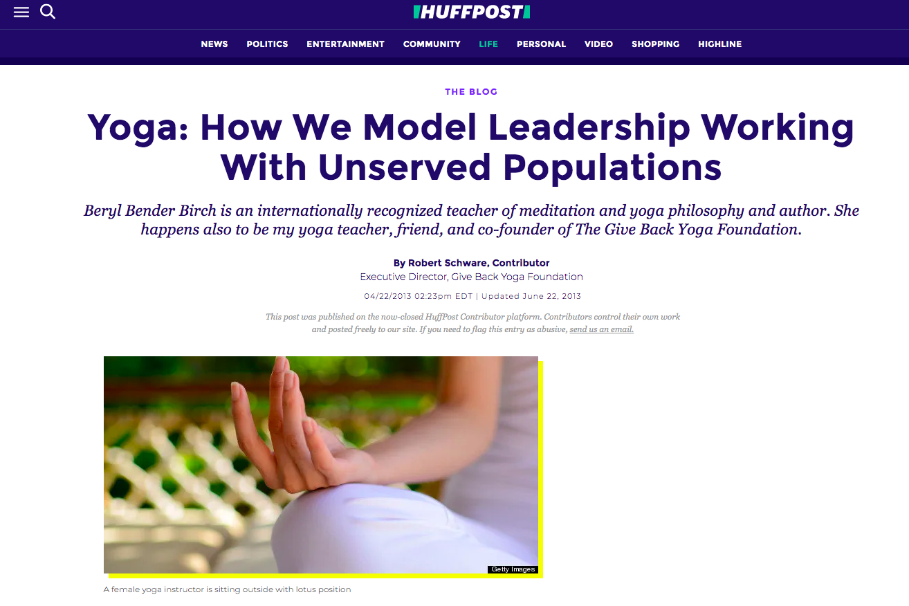 Yoga: How We Model Leadership Working With Unserved Populations   HuffPost
