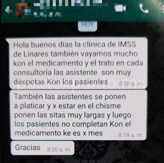 DENUNCIAN DERECHOHABIENTES DESABASTO DE MEDICAMENTO EN IMSS DE LA REGION