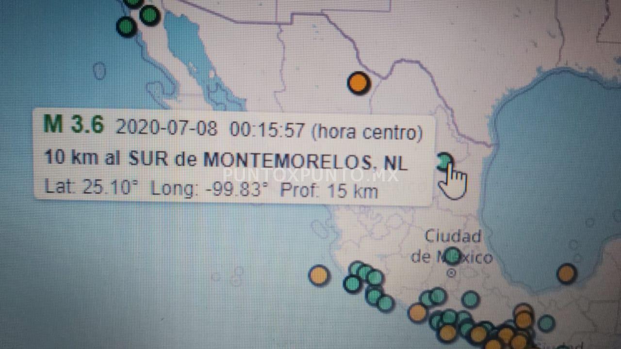 REPORTA SISTEMA SISMOLOGICO NACIONAL TEMBLOR EN MONTEMORELOS.