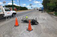 CONDUCTOR DE MOTOCICLETA RESULTA HERIDO EN ALLENDE AL SER PROYECTADO POR UN VEHICULO.