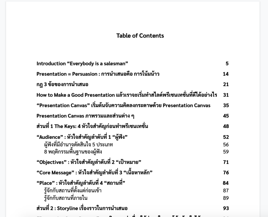 Presentation Canvas Table of Contents