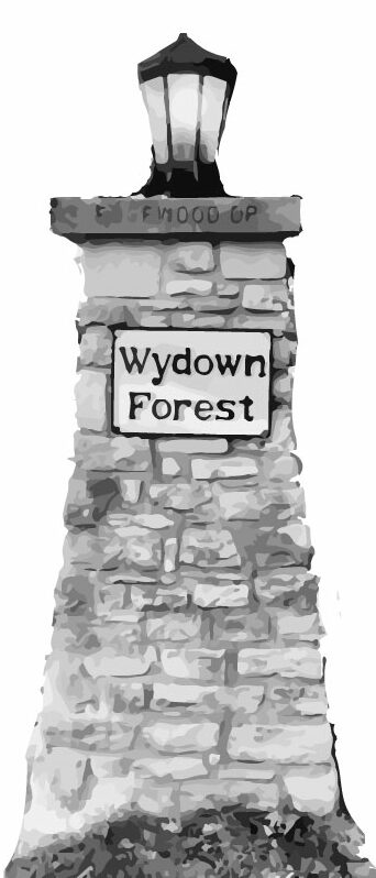 The historical, stone pillared entrance to Wydown Forest.