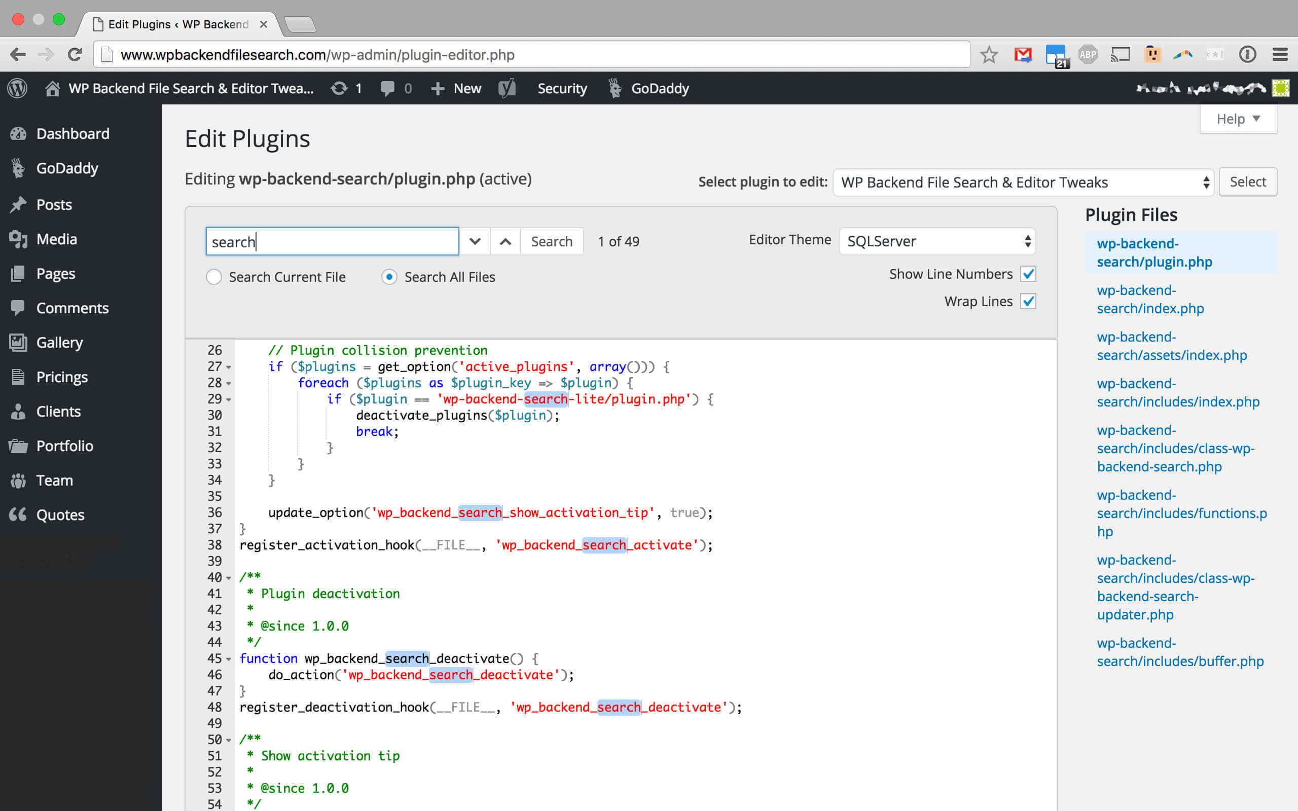 WP Backend File Search and Editor Tweaks Wordpress Plugin