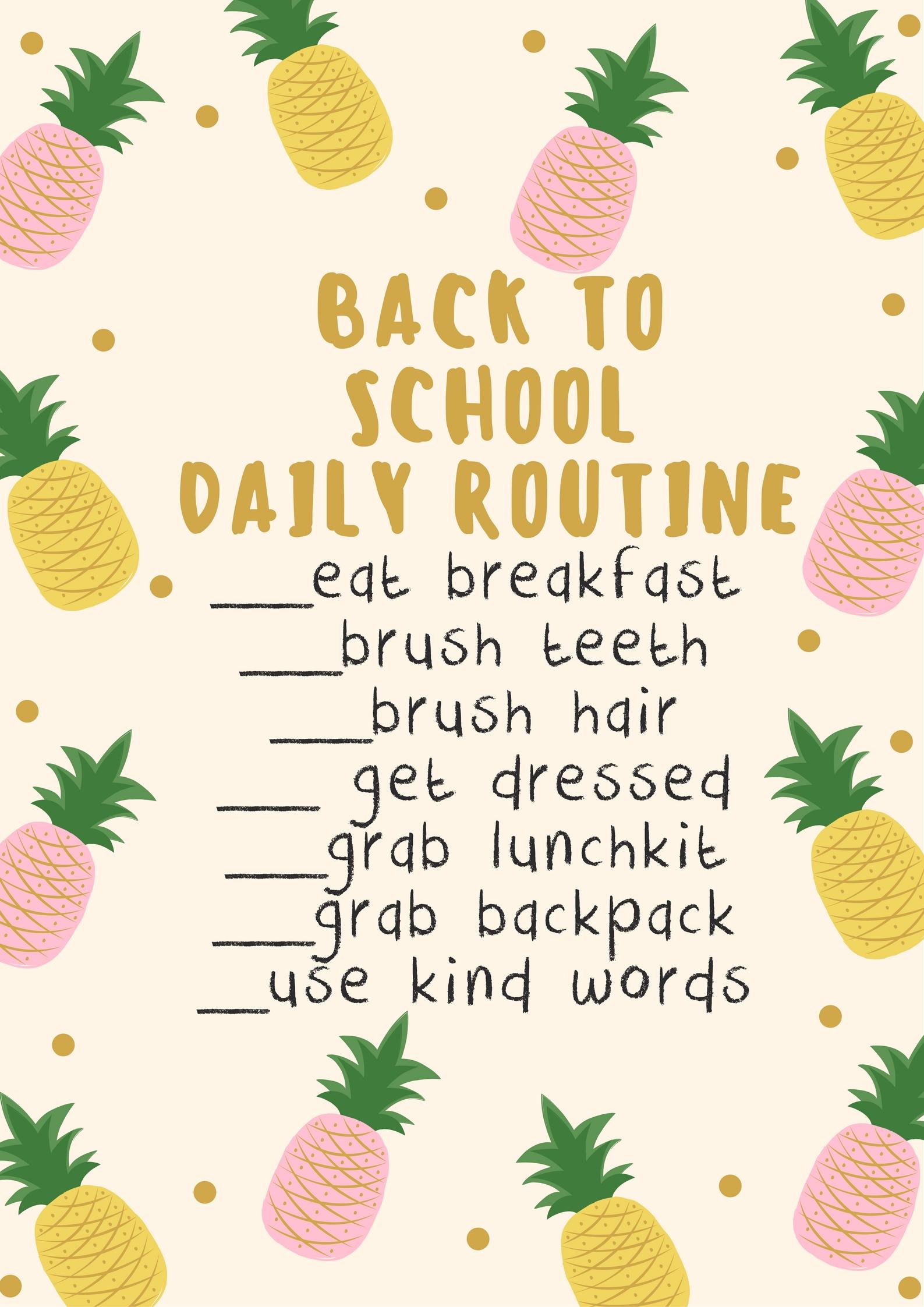 Back to school routine checklist
