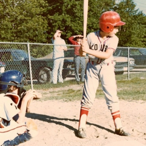 1970's baseball! Look at Brian in action! Today was a great day to get those bats or golf clubs swinging