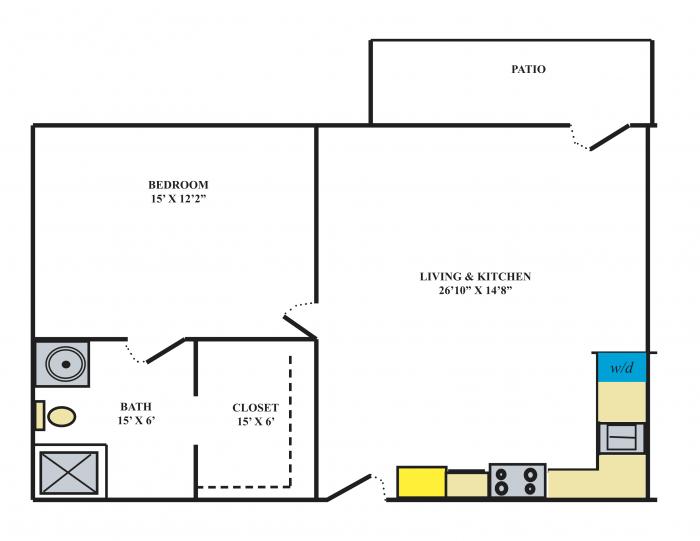 Southwest Mansions Senior Living 1 Bedroom Apartment Floor Plan