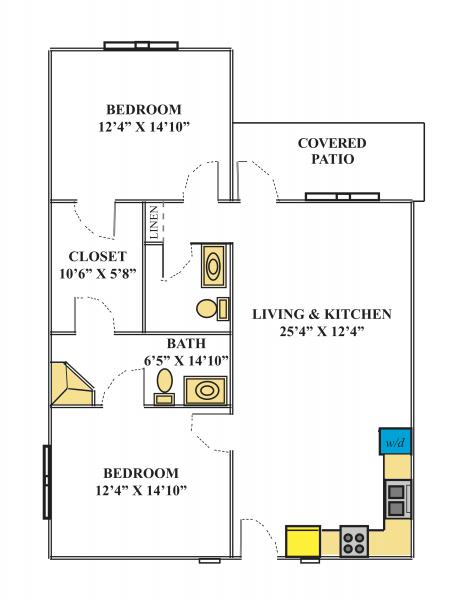 Southwest Mansions Senior Living 2 Bedroom Apartment Floor Plan