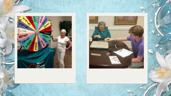 Women playing scrabble and wheel of fortune