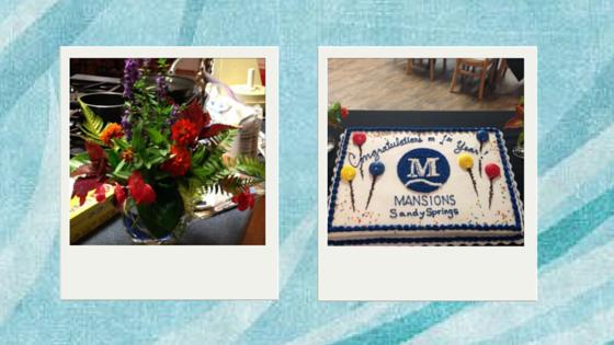 anniversary cake and flower arrangements