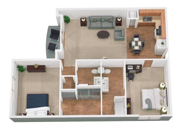 Decatur floor plan 1080 sq ft