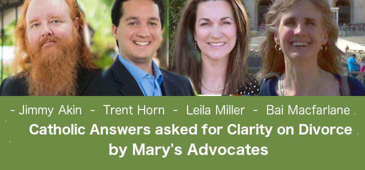 Catholic Answers asked for Clarity on Divorce
