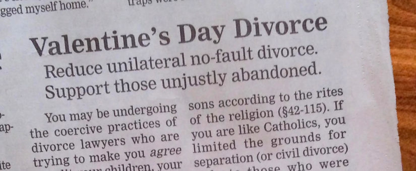 Valentine's Day Divorce – Ad. in Nebraska Paper