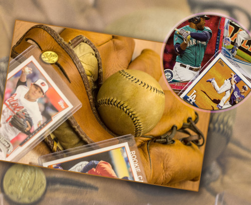 Photo of an assortment of baseball collectables.