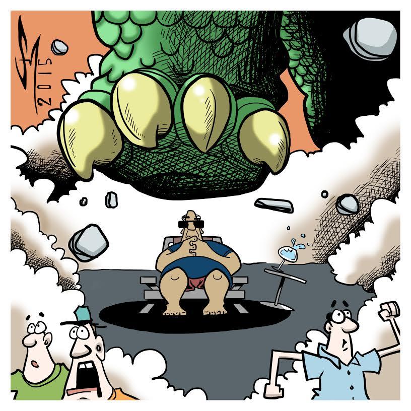 cartoon of man overcoming fear