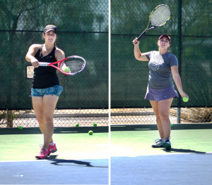 Members of women's tennis players practice and prepare for the end of the season.