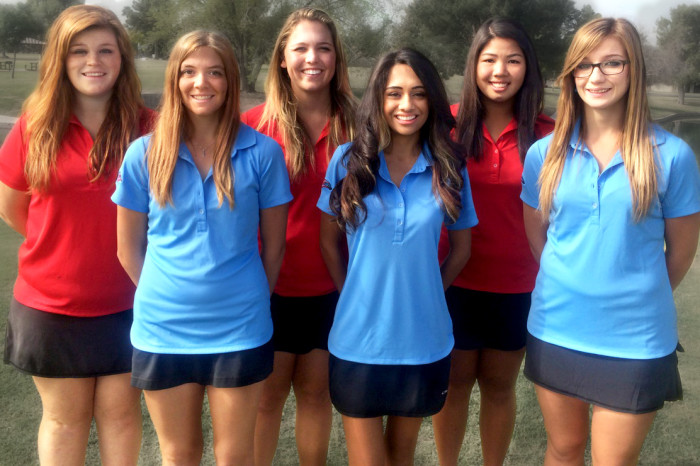 MCC women's golf team Jacquelyn Porman (red-left) Sierra Myerscough (red-middle) Charatta Thongbai (red-right) Jill Harvison (blue-left) Brianna Medrano (blue-center) Chelsie Peterson (blue-right) PHOTO COURTESY OF JOHN GUERRERO
