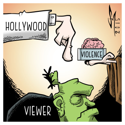 Cartoon depicting Hollywood brainwashing monster with violence.