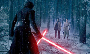 """Rey and Finn approach the evil Kylo Ren in """"Star Wars: The Force Awakens."""""""