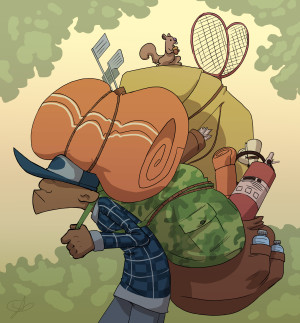 Cartoon of a hiker with a huge backpack
