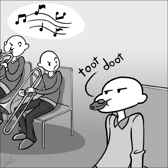 Cartoon of musician playing real instruments who are mad at some one playing a kazoo.